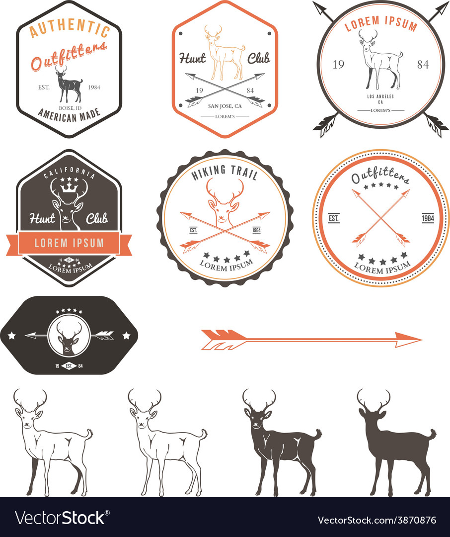 Set of vintage deer icons emblems and labels vector | Price: 1 Credit (USD $1)