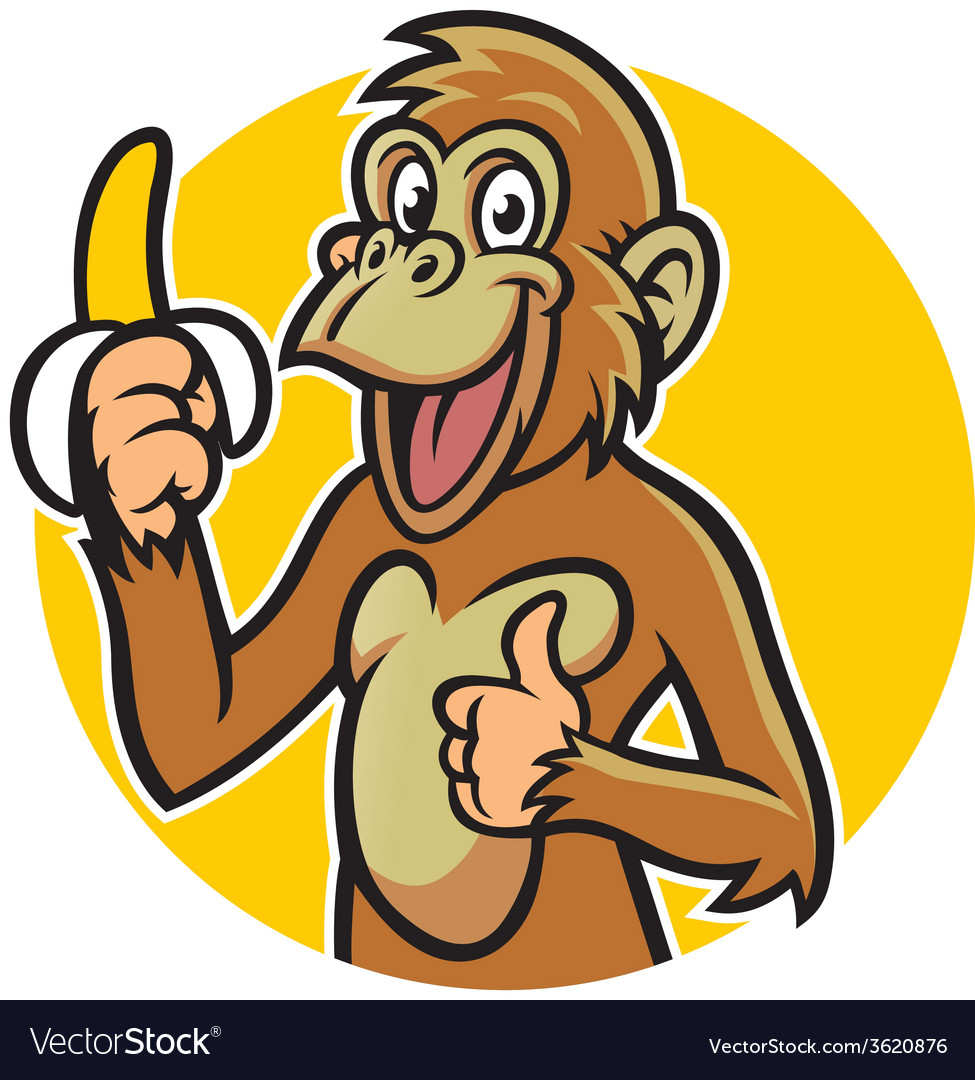 Smiling monkey with banana vector | Price: 3 Credit (USD $3)