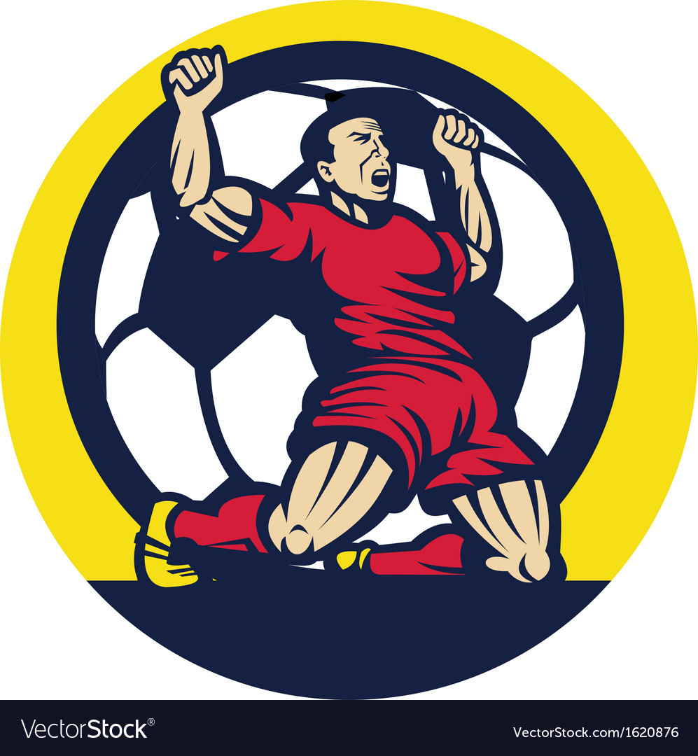 Soccer player celebrating a goal with ball vector | Price: 1 Credit (USD $1)