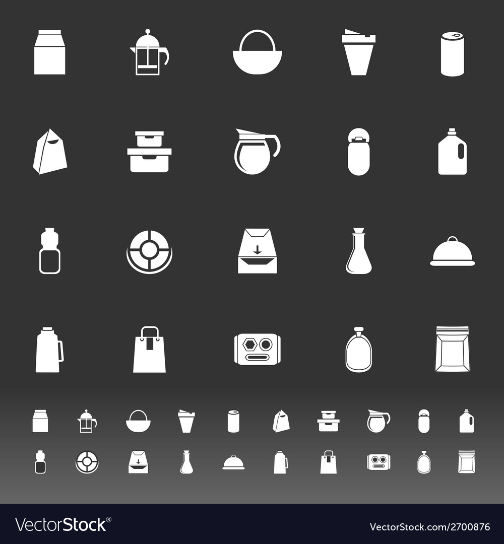 Variety food package icons on gray background vector | Price: 1 Credit (USD $1)