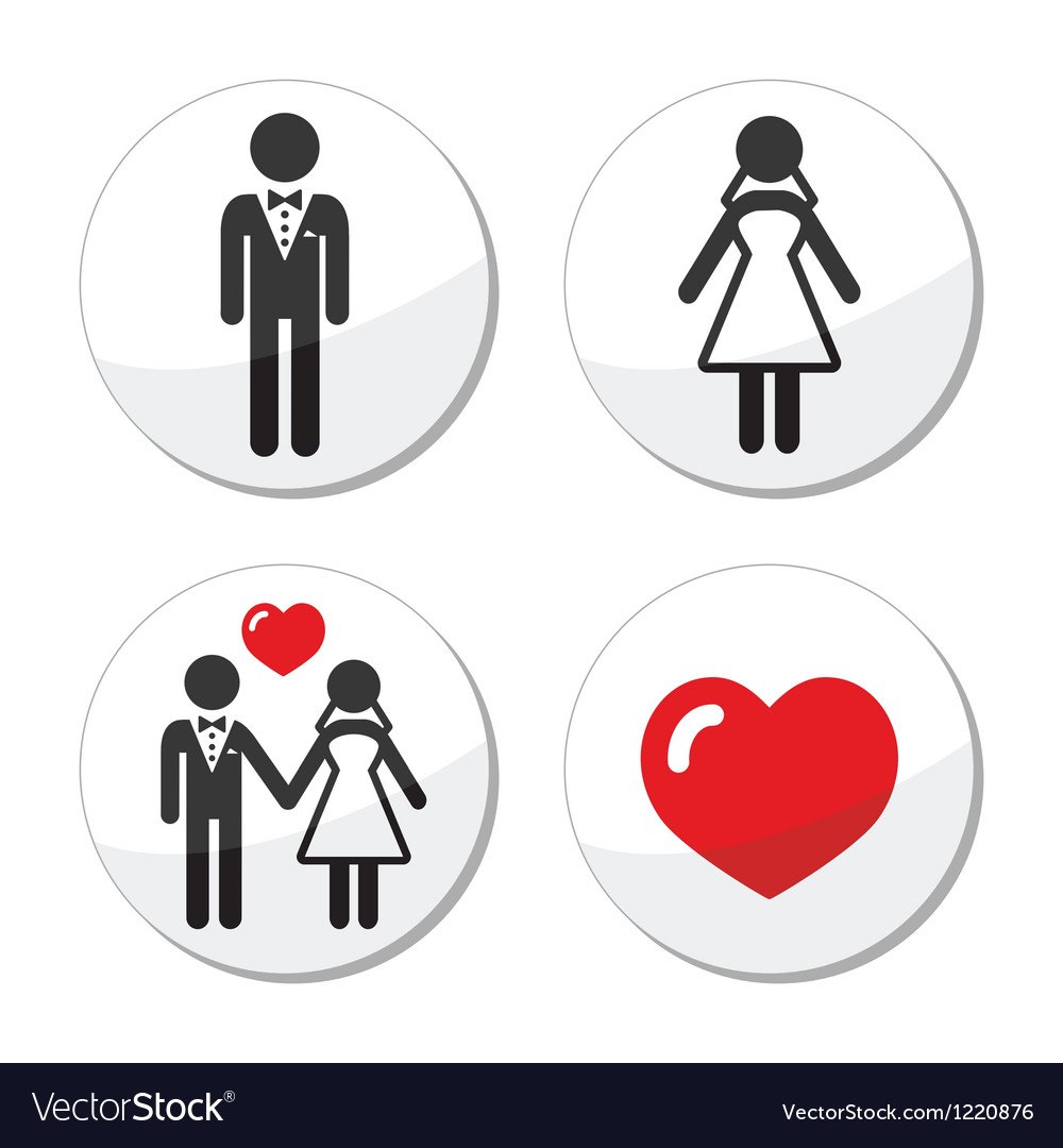 Wedding icons - married couple groom and bride vector | Price: 1 Credit (USD $1)