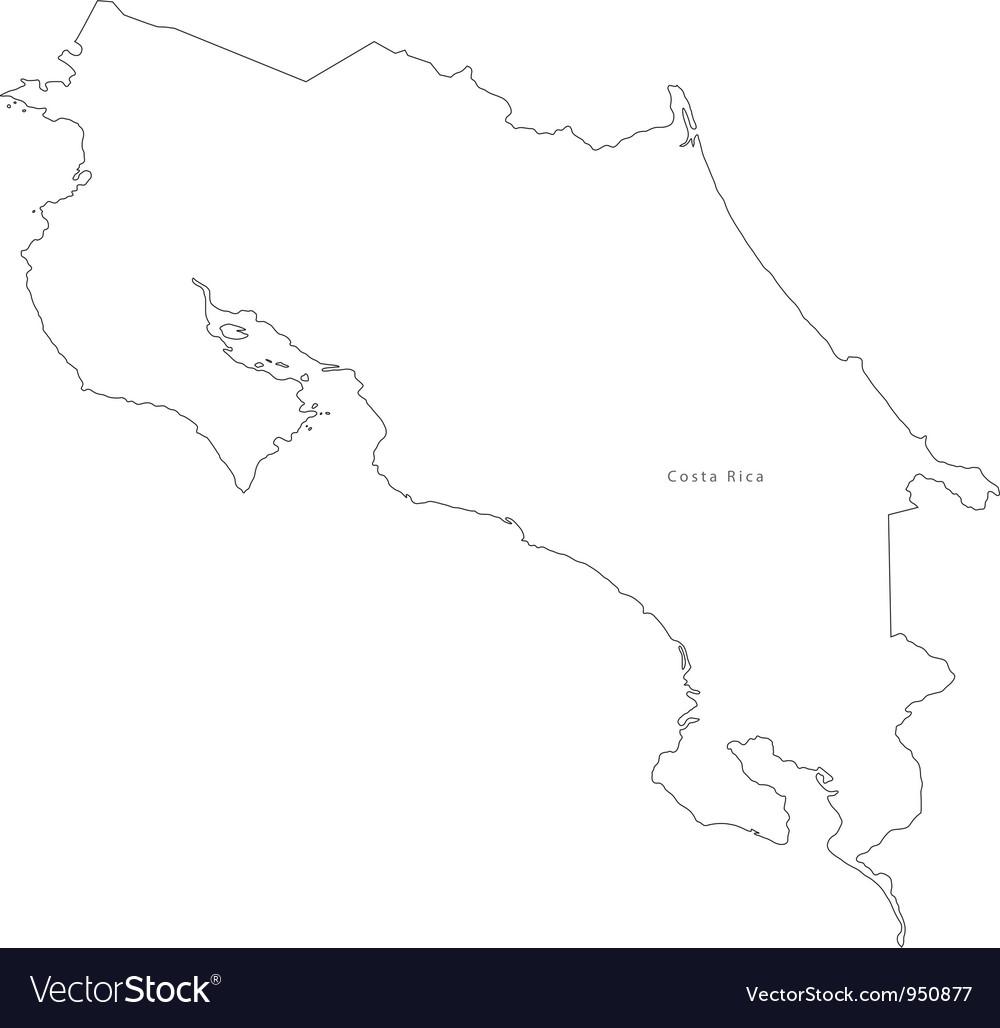Black white costa rica outline map vector   Price: 1 Credit (USD $1)
