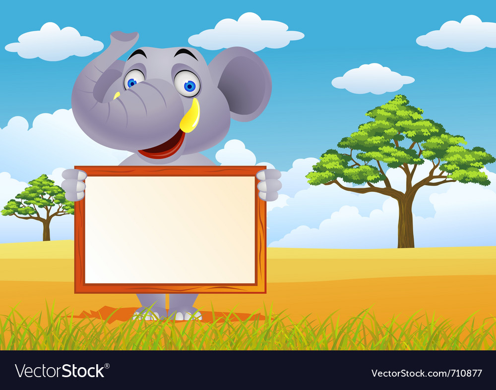 Elephant and blank sign vector | Price: 3 Credit (USD $3)