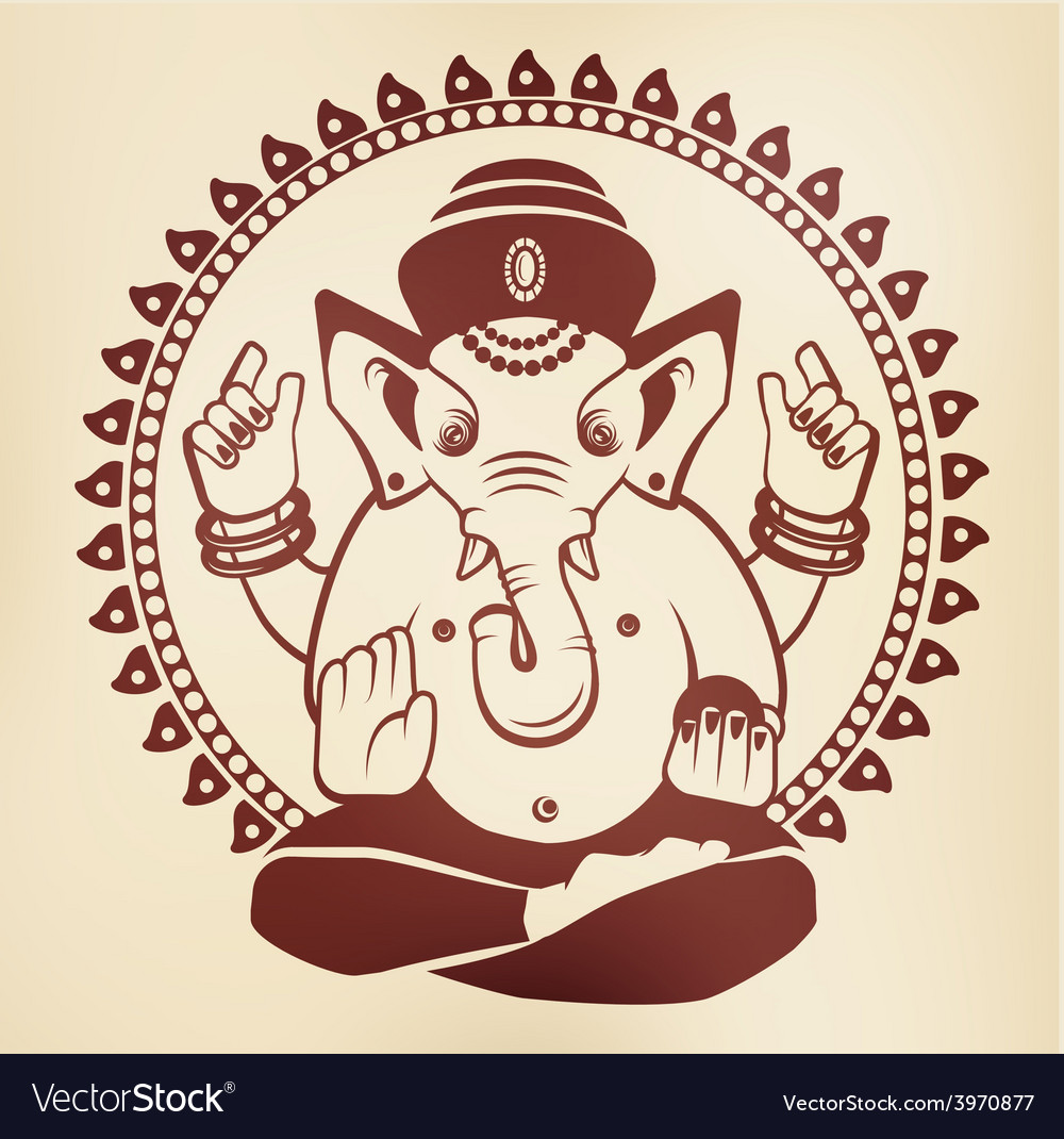 Indian god ganesha on a beige background vector | Price: 1 Credit (USD $1)