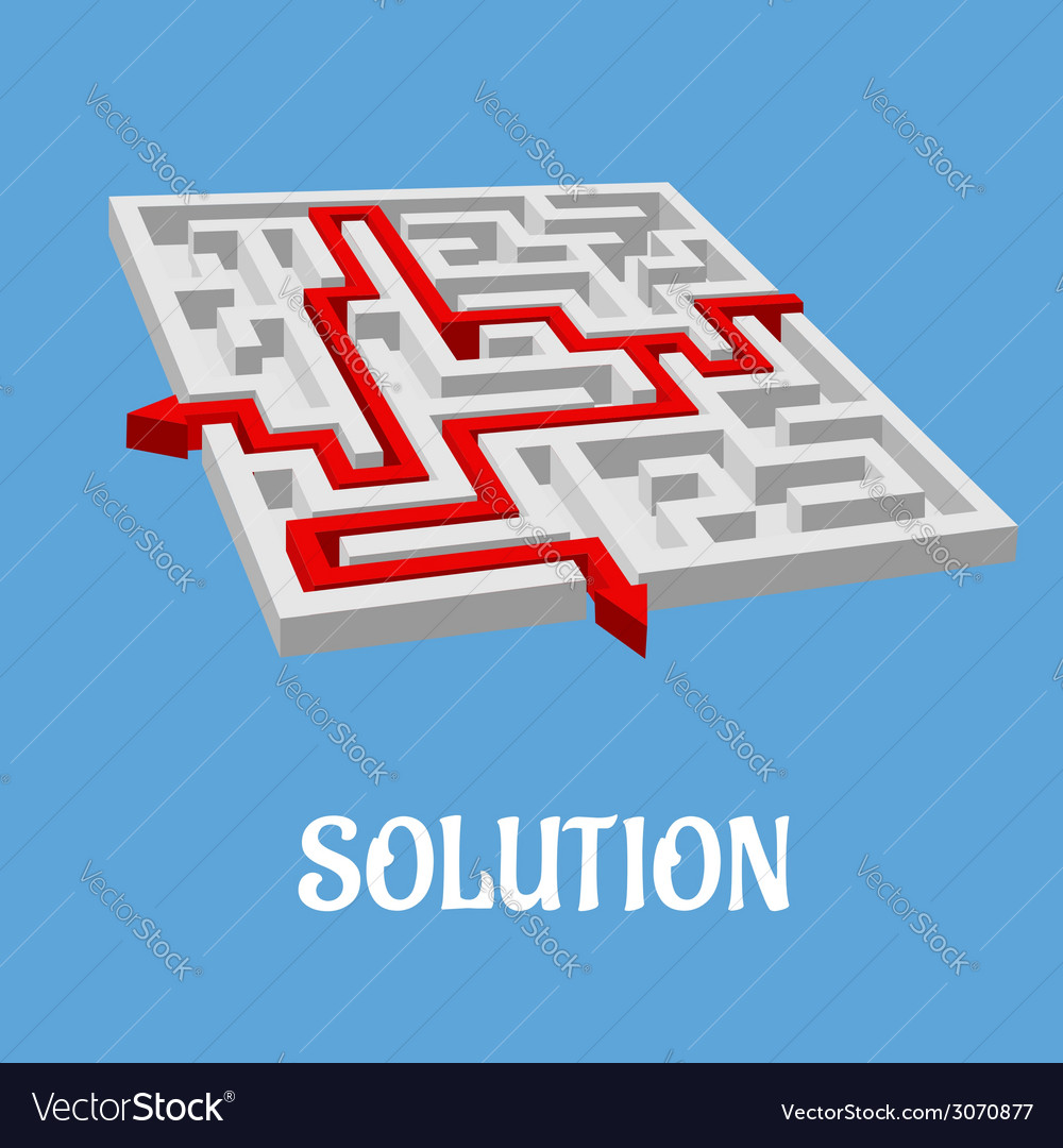 Labyrinth puzzle with two solutions vector | Price: 1 Credit (USD $1)