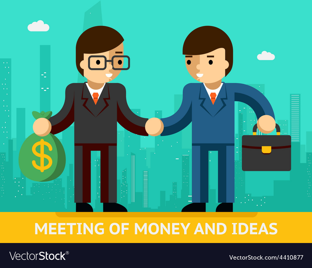 Meeting of money and ideas two businessmen vector | Price: 1 Credit (USD $1)
