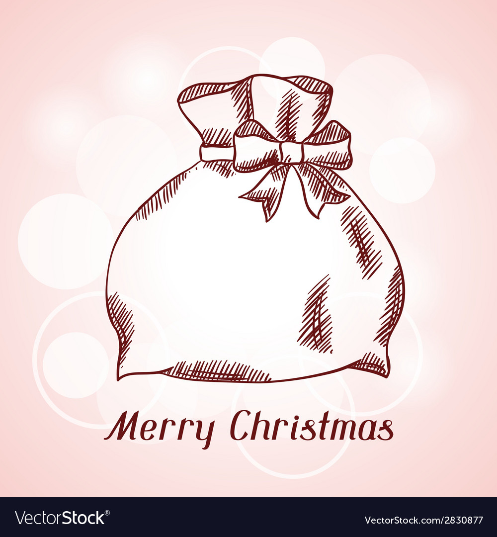 Merry christmas hand drawn invitation card vector | Price: 1 Credit (USD $1)