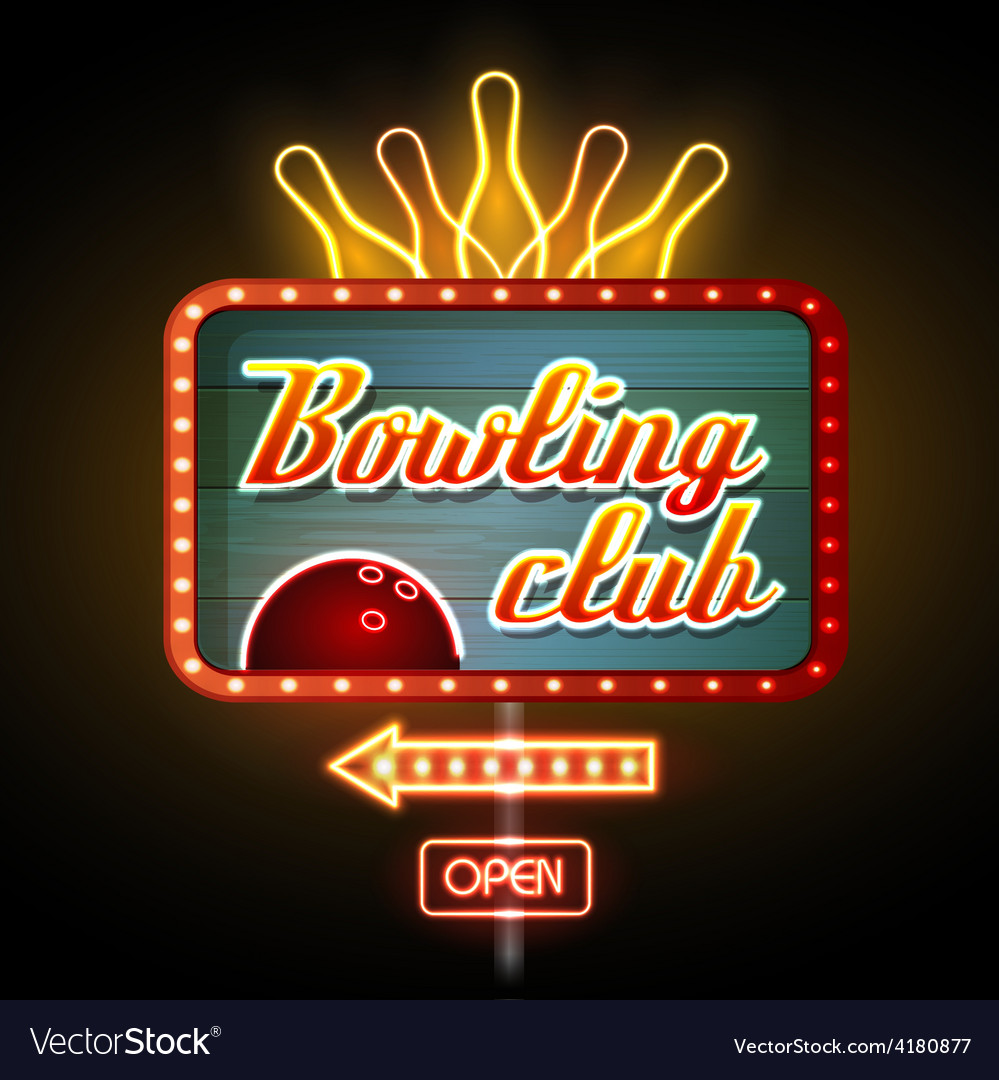 Neon sign bowling club vector | Price: 1 Credit (USD $1)