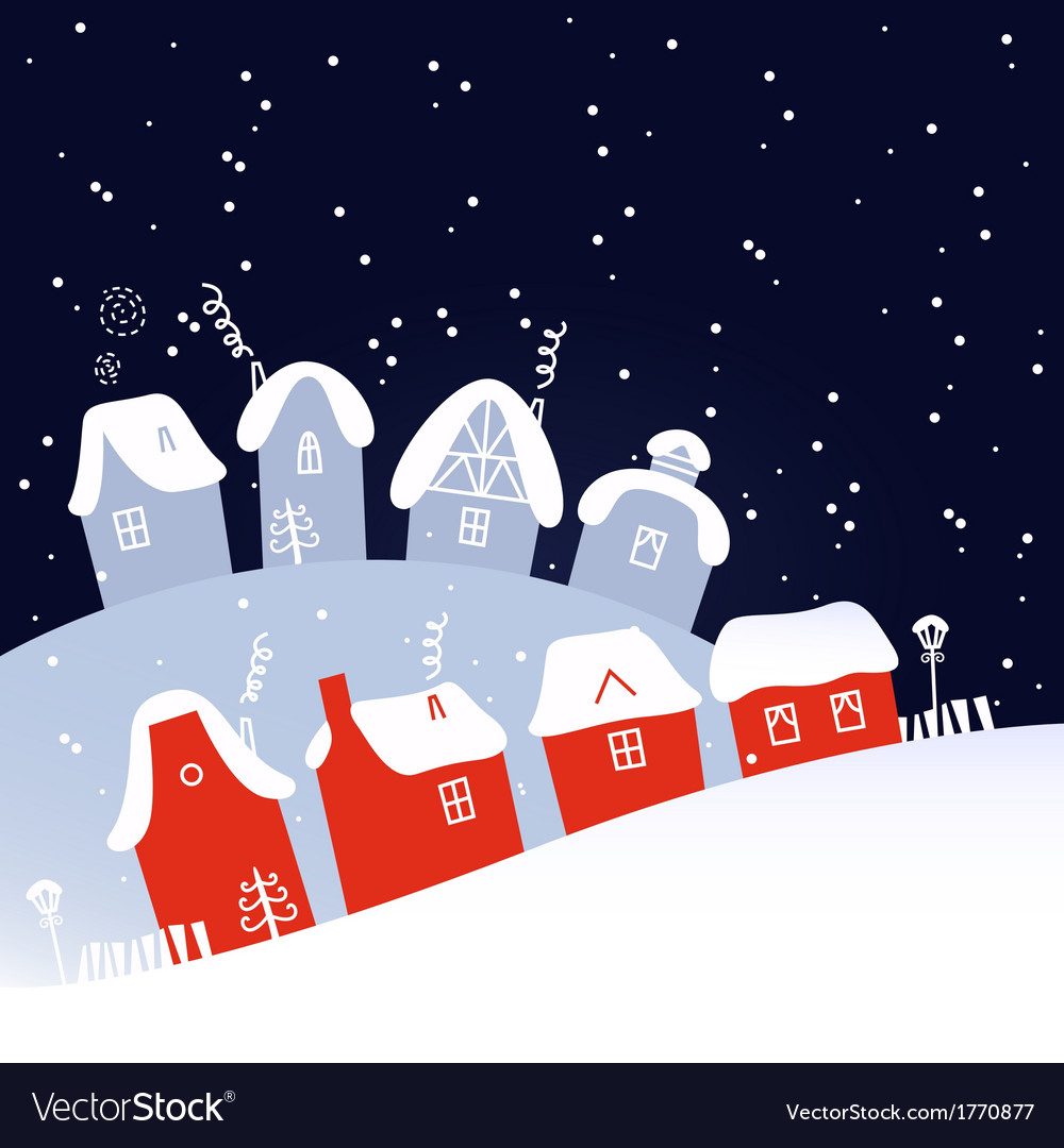 Winter christmas snowing night village vector | Price: 1 Credit (USD $1)