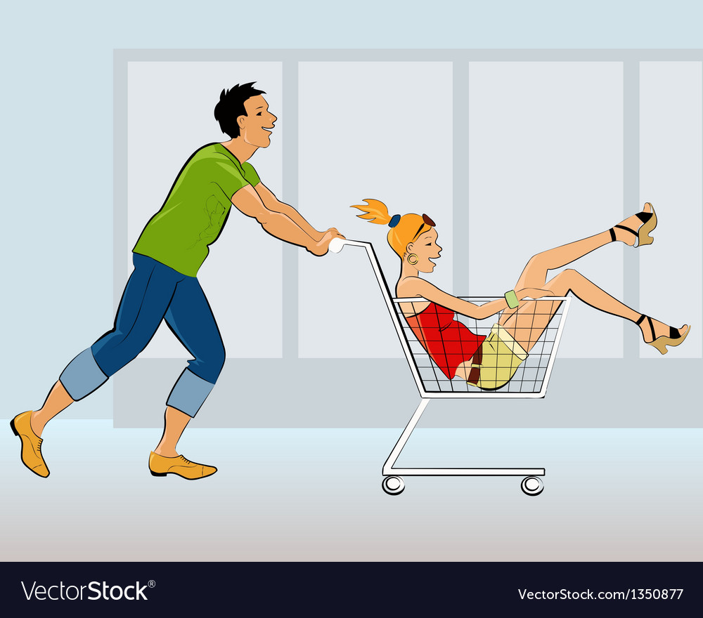 Young couple having fun in a store vector | Price: 3 Credit (USD $3)