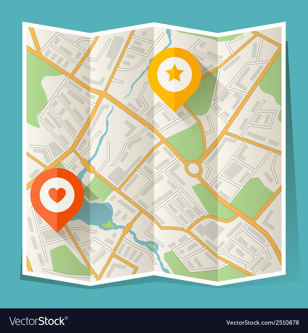 Abstract city folded map with location markers vector | Price: 1 Credit (USD $1)