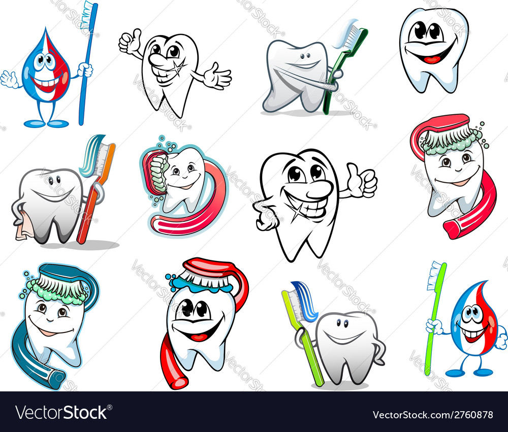 Cartoon tooth hygiene set vector | Price: 1 Credit (USD $1)