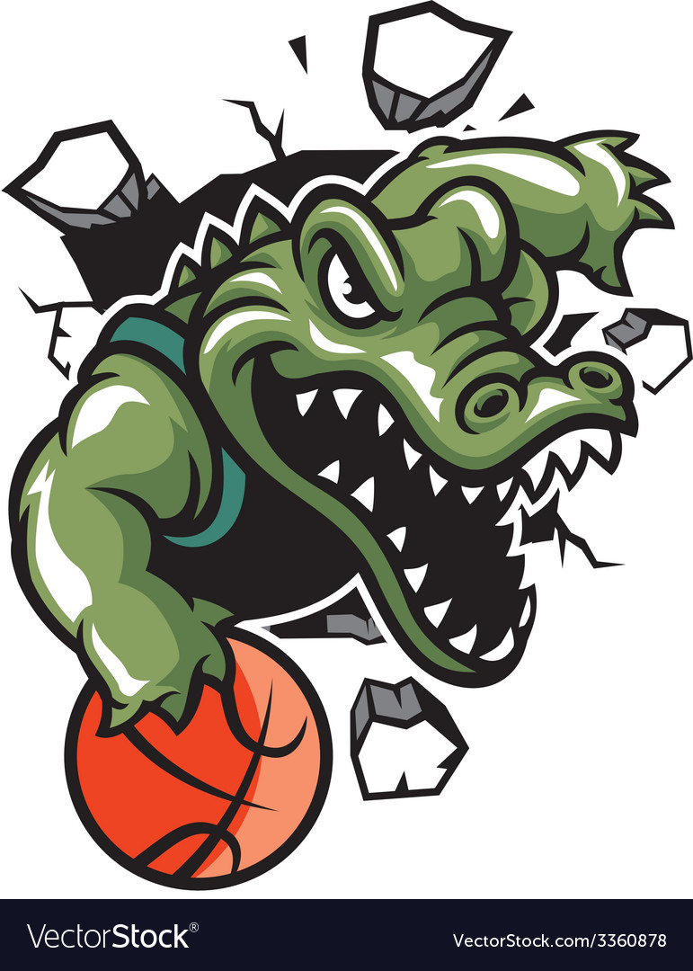 Crocodile basketball mascot break the wall vector | Price: 3 Credit (USD $3)