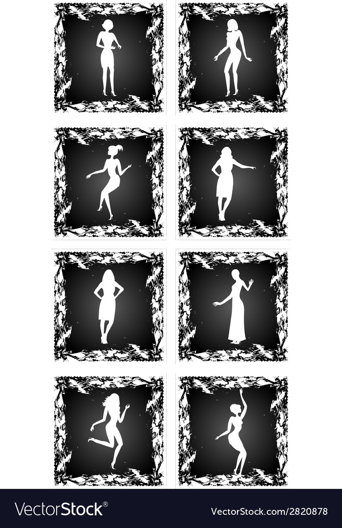 Female silhouettes set vector | Price: 1 Credit (USD $1)