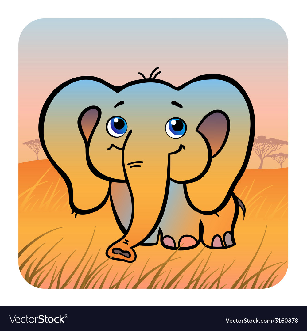 Friendly elephant vector | Price: 1 Credit (USD $1)