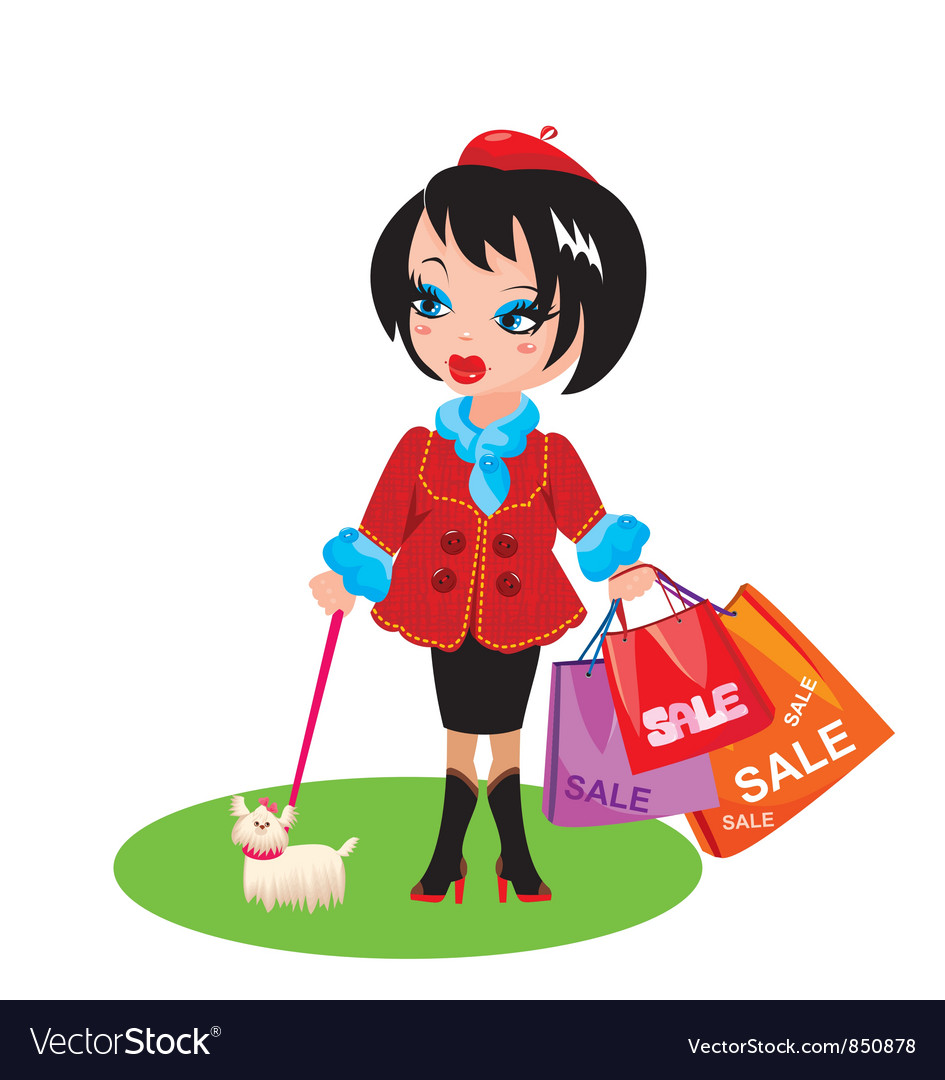 Funny girl with dog go shopping in sale time vector | Price: 1 Credit (USD $1)