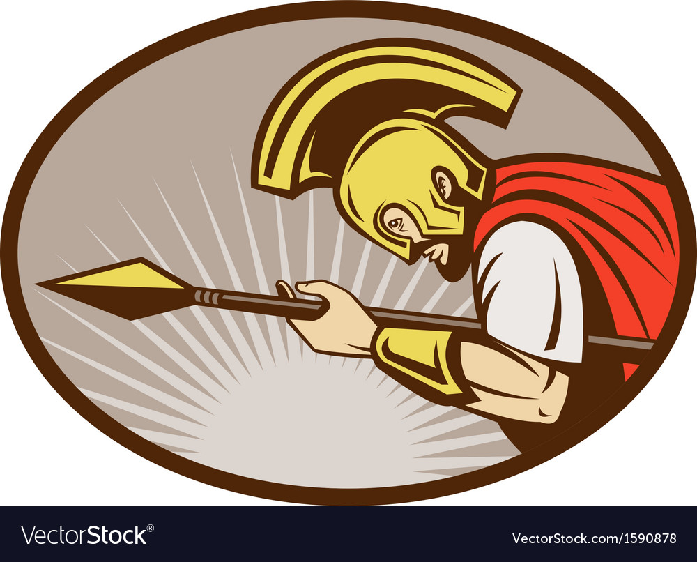 Roman soldier or gladiator attacking with spear vector | Price: 1 Credit (USD $1)