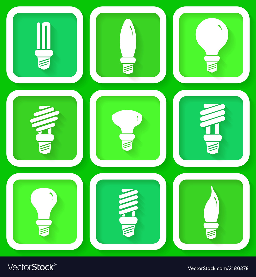 Set of 9 green icons of energy saving lamps vector | Price: 1 Credit (USD $1)