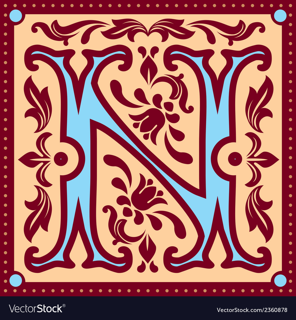 Vintage letter n vector | Price: 1 Credit (USD $1)