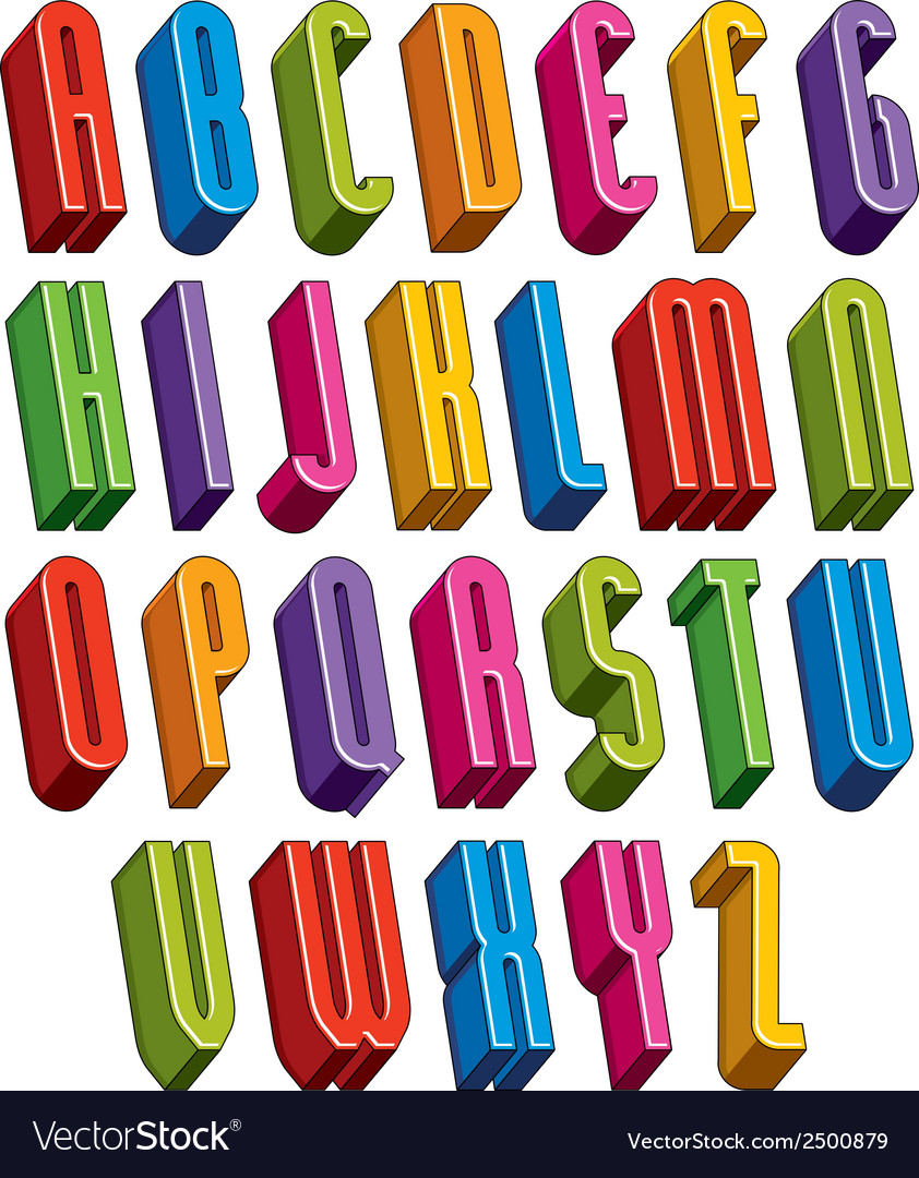 3d font tall thin letters vector | Price: 1 Credit (USD $1)
