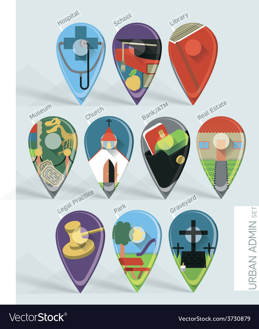 Administration map pins vector | Price: 1 Credit (USD $1)