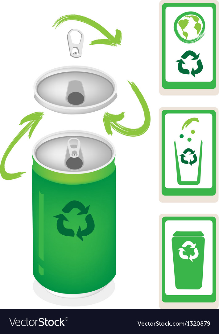Aluminum can with recycle symbol and trash can vector | Price: 1 Credit (USD $1)