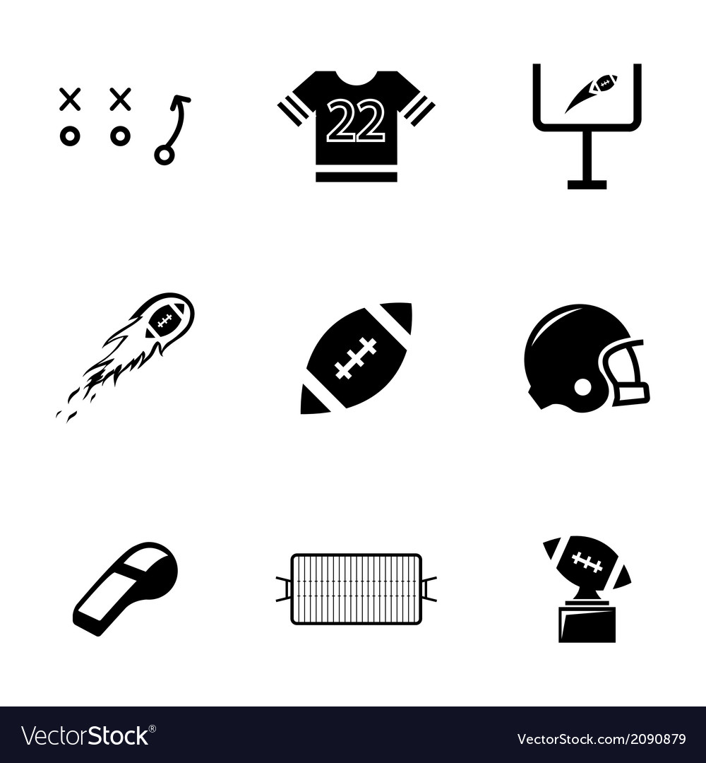Black football icons set vector | Price: 1 Credit (USD $1)