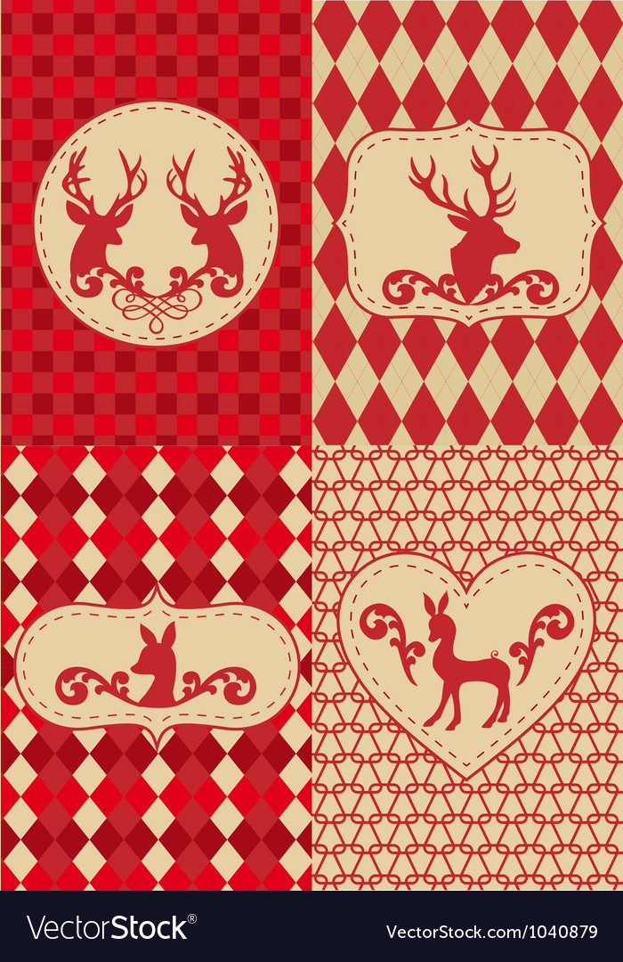 Christmas deers with patterns vector | Price: 1 Credit (USD $1)