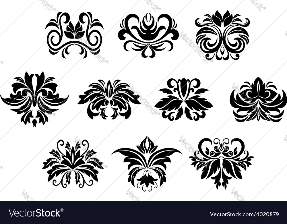 Floral design elements with leaves scrolls vector | Price: 1 Credit (USD $1)