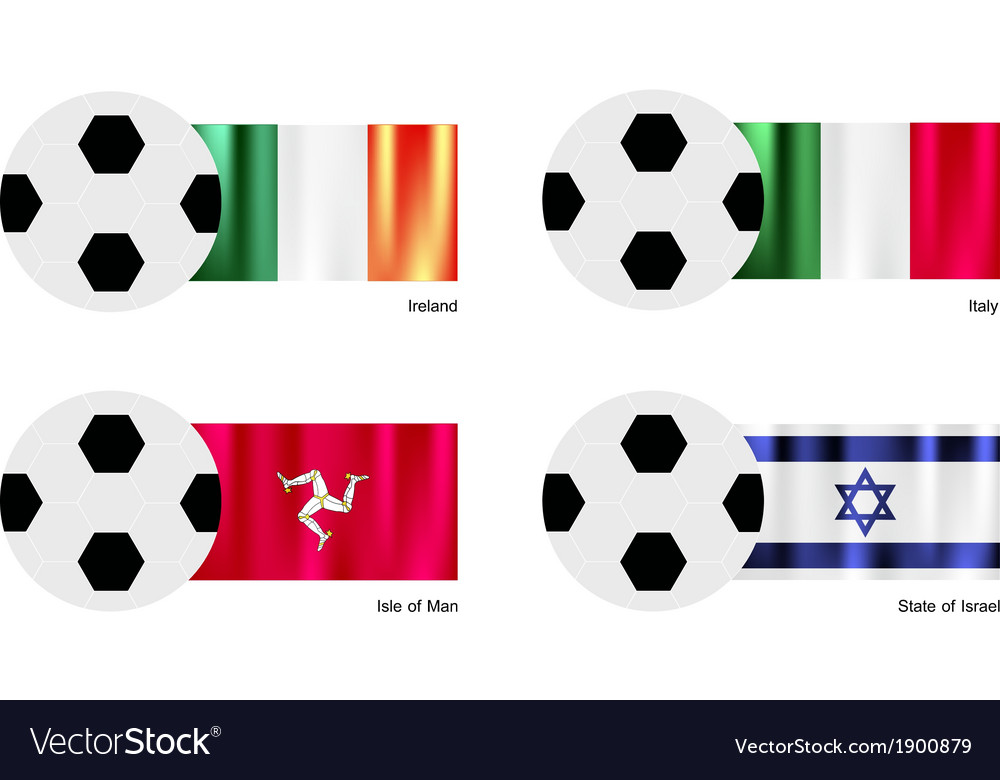 Football with ireland italy isle of man flag vector | Price: 1 Credit (USD $1)