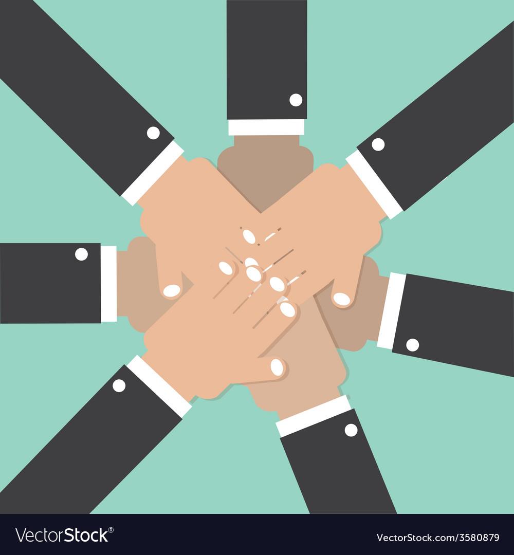 Hands join together teamwork spirit conceptual vector | Price: 1 Credit (USD $1)