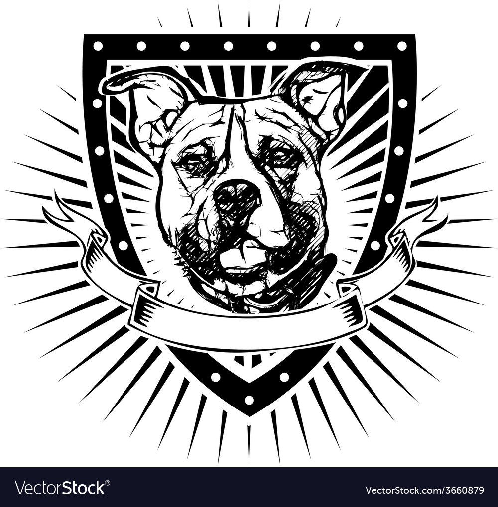 Pit bull shield vector | Price: 3 Credit (USD $3)