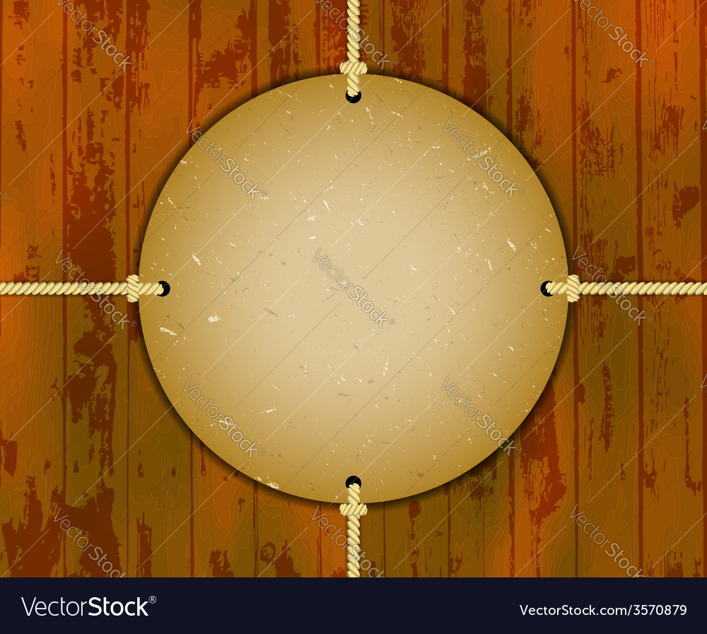 Round cardboard frame on the ropes vector | Price: 1 Credit (USD $1)