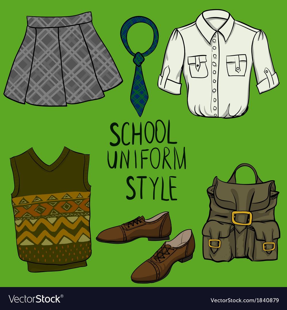 School uniform set vector | Price: 1 Credit (USD $1)