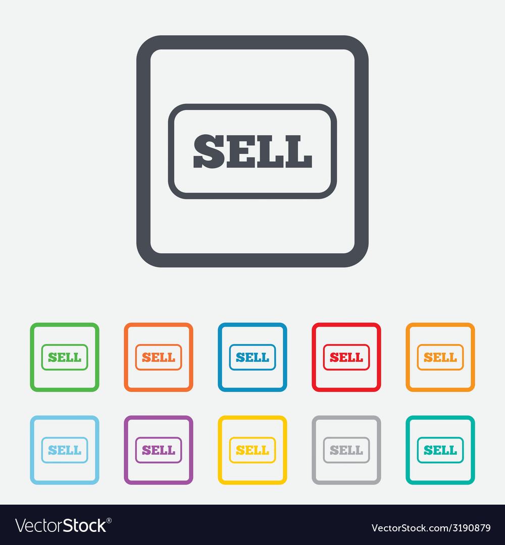 Sell sign icon contributor button vector | Price: 1 Credit (USD $1)