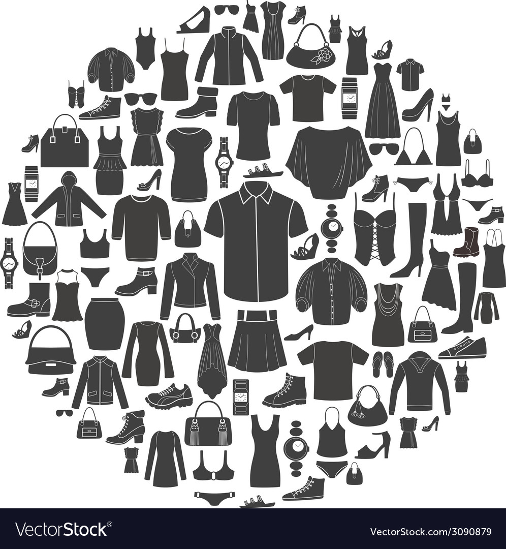 Set of women s and men s clothing icons vector | Price: 1 Credit (USD $1)