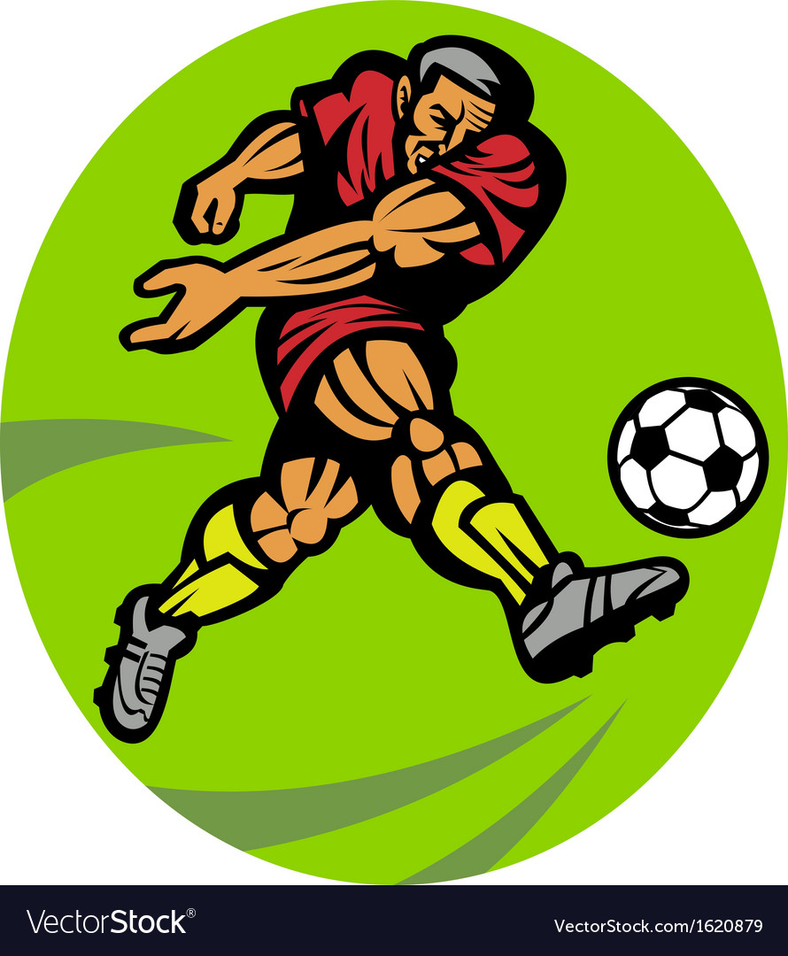 Soccer player kicking the ball vector | Price: 1 Credit (USD $1)