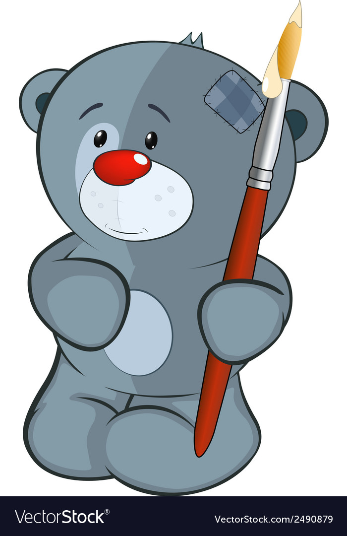 The stuffed toy bear cub the artist cartoon vector | Price: 1 Credit (USD $1)