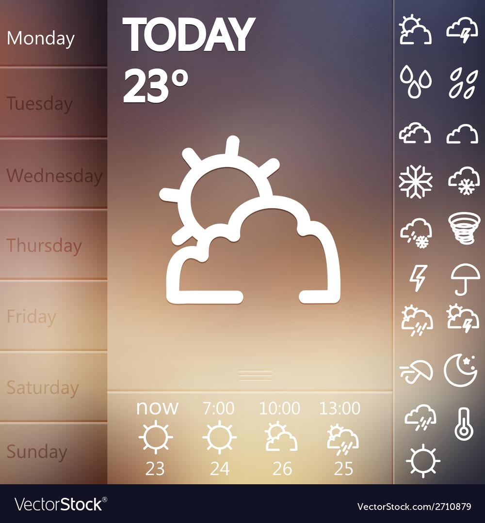 Weather widget ui set vector | Price: 1 Credit (USD $1)