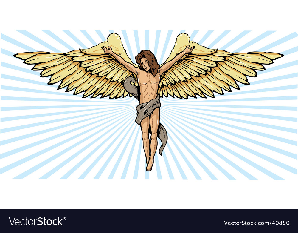 Angel and crucifix vector | Price: 1 Credit (USD $1)