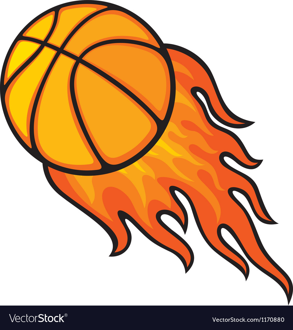 Basketball ball in fire vector | Price: 1 Credit (USD $1)