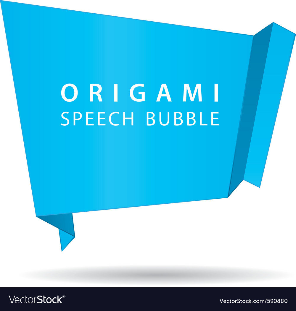 Blue origami speech bubble vector | Price: 1 Credit (USD $1)