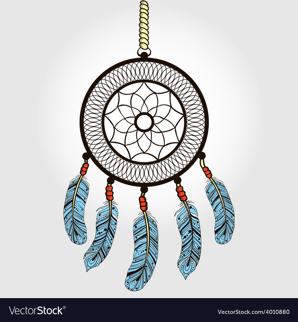 Boho dream catcher with feathers indian symbol in vector | Price: 1 Credit (USD $1)