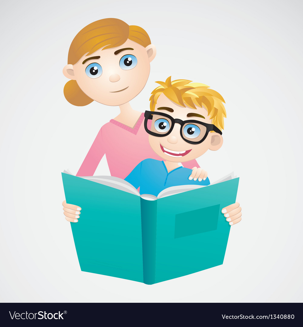 Boy and mom reading the book vector | Price: 3 Credit (USD $3)