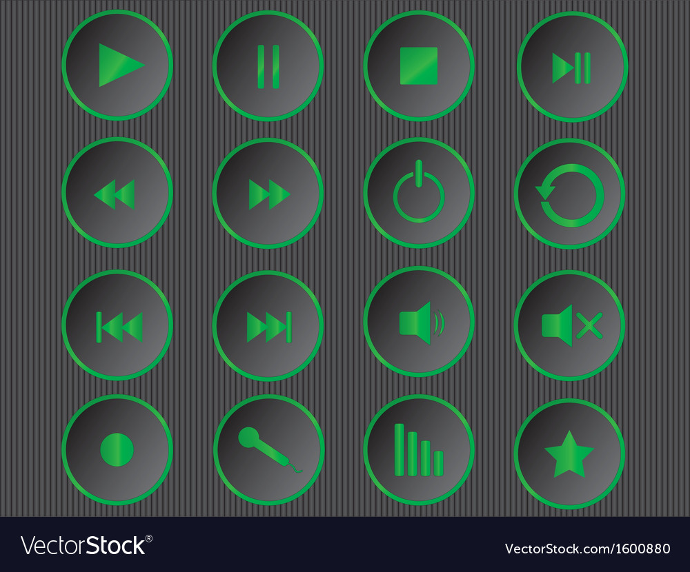 Cool green multimedia buttons vector | Price: 1 Credit (USD $1)