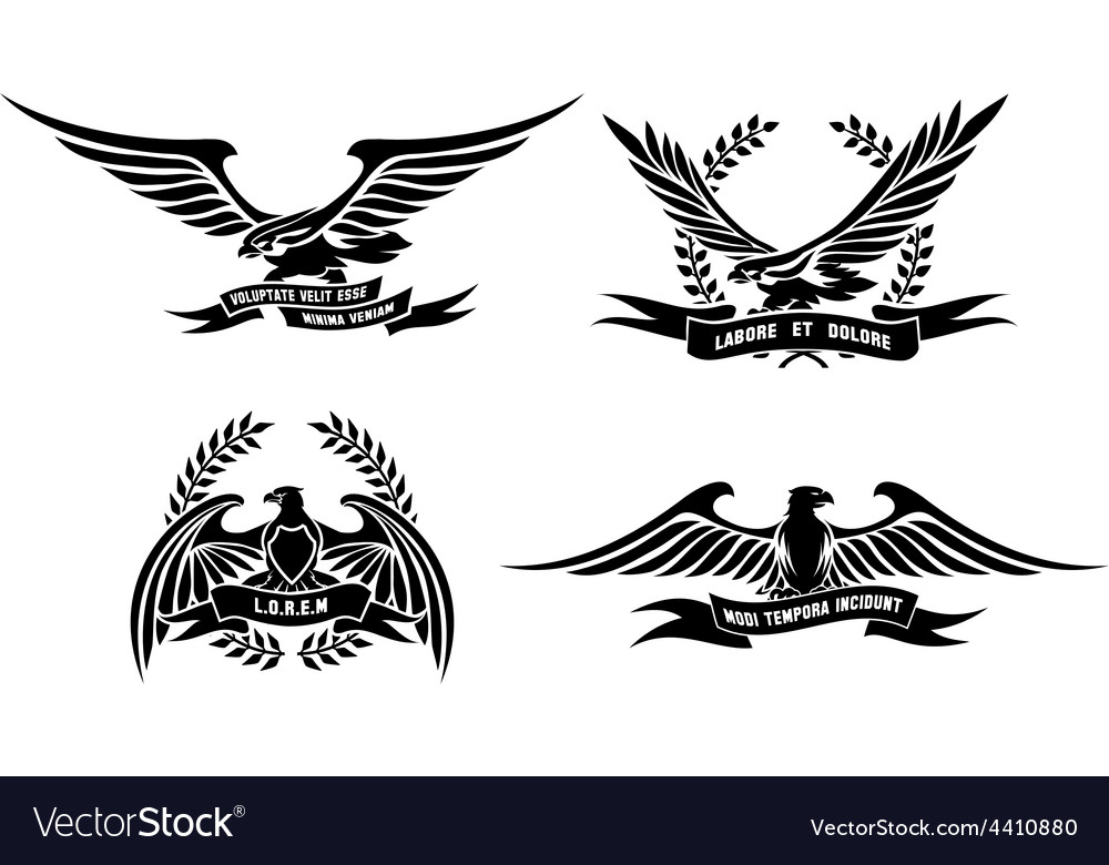 Eagle heraldic labels with laurel wreaths shields vector | Price: 1 Credit (USD $1)