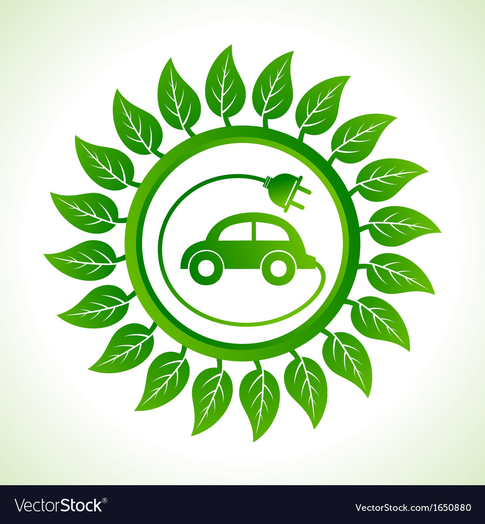Eco car inside the leaf background vector | Price: 1 Credit (USD $1)