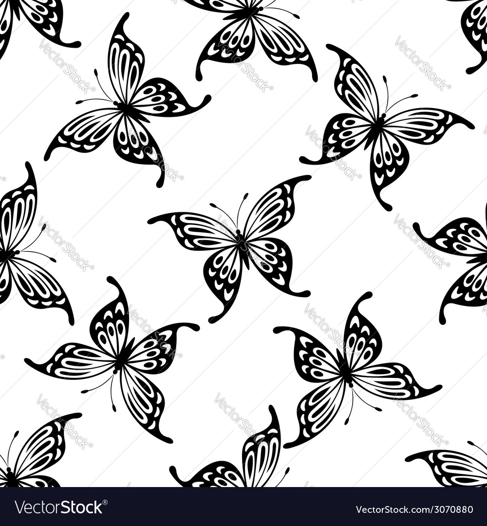 Flying butterflies seamless background pattern vector | Price: 1 Credit (USD $1)