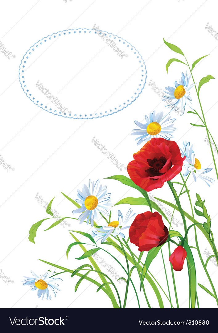 Greeting card with colorful flowers vector | Price: 1 Credit (USD $1)