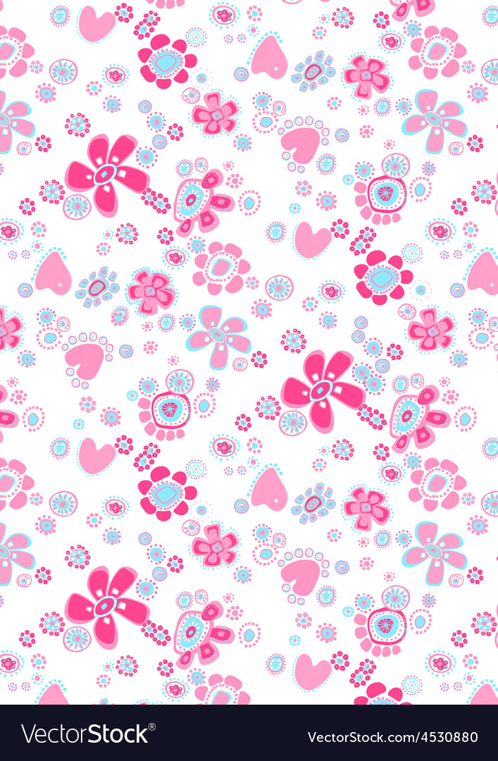 Happy flower repeat pattern vector | Price: 1 Credit (USD $1)